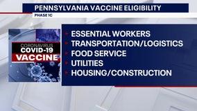 Pennsylvania expanding vaccine eligibility to Phase 1C on Monday