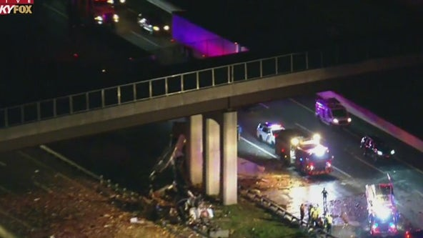 2 killed after tractor-trailer hits bridge on New Jersey Turnpike in Mercer County