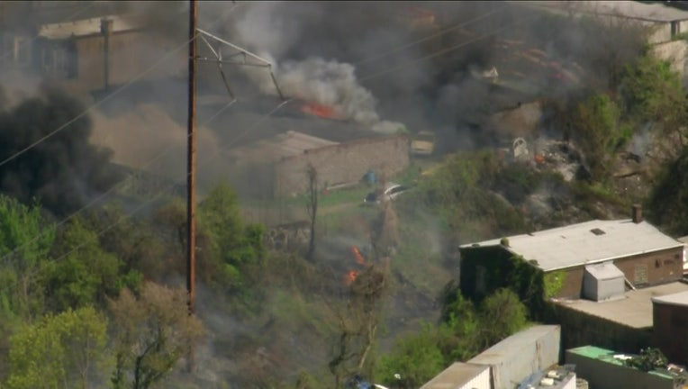 North Philly train tracks brush fires