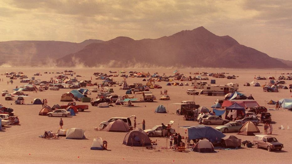 Black Rock Desert,Nevada,USA.September 2,3,4--BURNING MAN-- Some 4500 people gathered in the Black Rock Desert of Northern Nevada for the burning man celebration. People camped right out o the desert playa.  (Tomas Ovalle/Valley Times/Bay Area News Group)