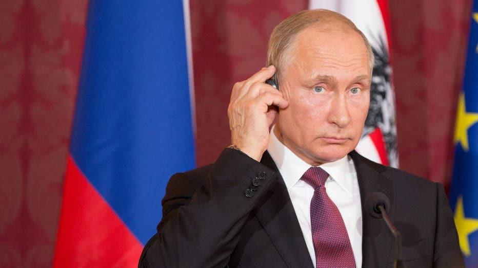 The Russian President Vladimir Putin gives a Press Statement