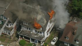 Fire burns at home in Trenton, New Jersey