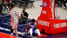 Joel Embiid leaves with sore knee, 76ers lose to Wizards 122-114