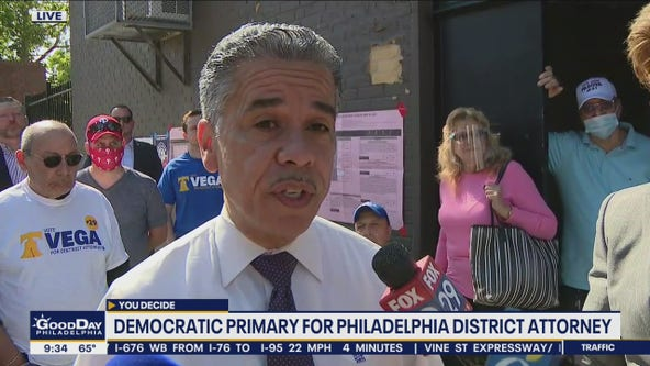 Candidate Carlos Vega runs for Philadelphia District Attorney in the democratic primary held Tuesday