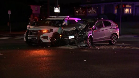 Philly cop injured in car crash after SUV drives through stoplight in Tacony, police say