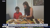 Making ice cream sandwiches for kids