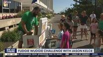 Jason Kelce participates in the 'Fudgie Wudgie Challenge'