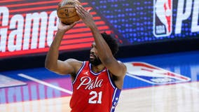 Embiid plays in Game 1 for 76ers with injured right knee