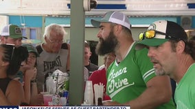 Eagles center Jason Kelce serves as guest bartender to raise money for Eagles Autism Foundation