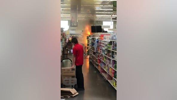Teens light fireworks display inside Hy-Vee in Eagan, Minnesota