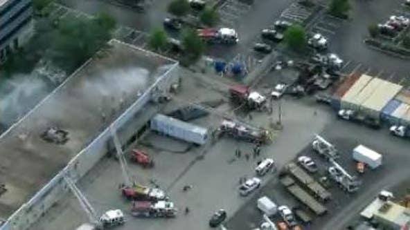 Firefighters battle 2-alarm blaze in Blue Bell