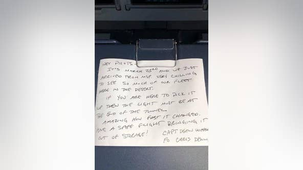 Delta Air Lines shares touching note left by pilot at start of COVID-19 Pandemic