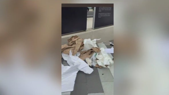 Video shows plaza at Holocaust Memorial filled with trash