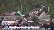 Car dealership partially collapses in Bucks County after a tornado ripped through the area