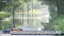 Millstone River spills onto roadway following severe storms, heavy rain