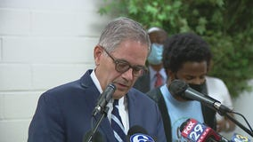 Philadelphia District Attorney Larry Krasner gets emotional while recapping weekend violence
