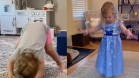 Olympic inspiration: Girls imitate gymnasts after watching on TV