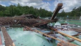 Tornado spawned by Tropical Storm Elsa clobbers pool club in Woodbine