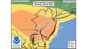 Tornado watch issued as Delaware Valley has 'enhanced risk' of severe thunderstorms Thursday