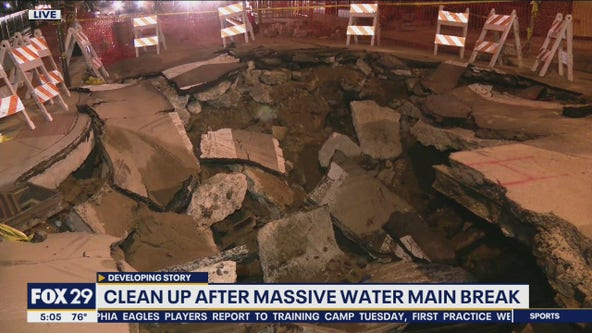 Clean up after massive water main break