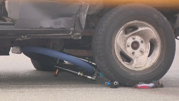 Philadelphia police investigate accident involving a pickup truck and a boy hit riding a bike
