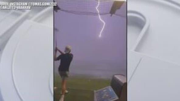 Video shows teen's golf ball being struck by lightning at Top Golf