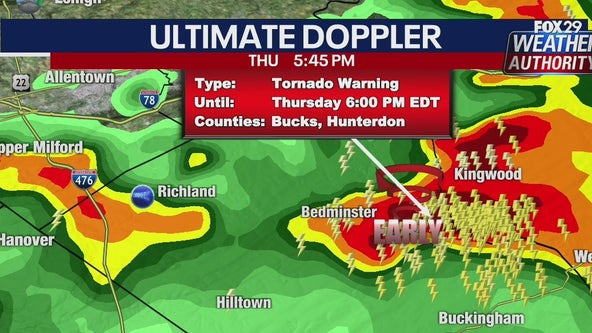 Weather Authority: Tornado warning issued for Bucks and Hunterdon counties