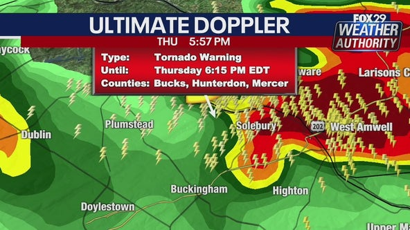 Weather Authority: Tornado warning issued for Bucks, Hunterdon and Mercer counties