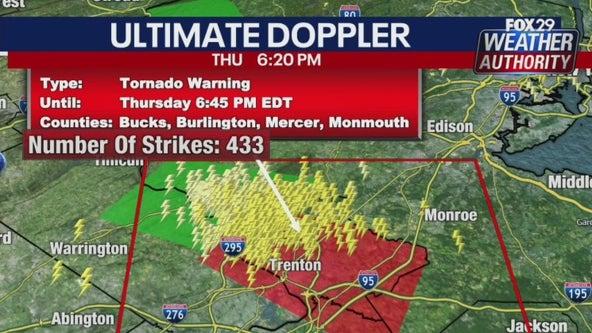 Weather Authority: Tornado warning issued for Bucks, Hunterdon, Burlington and Mercer counties