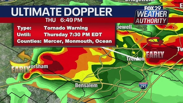 Weather Authority: Tornado warning in effect for Mercer, Ocean and Monmouth counties