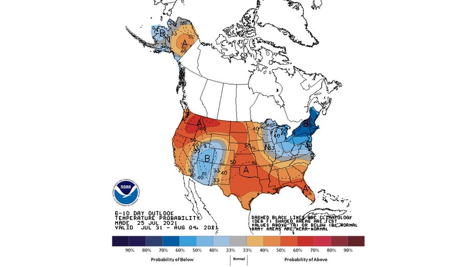 The latest 6- to 10-day temperature outlook issued Sunday by NOAA's Climate Prediction Center.