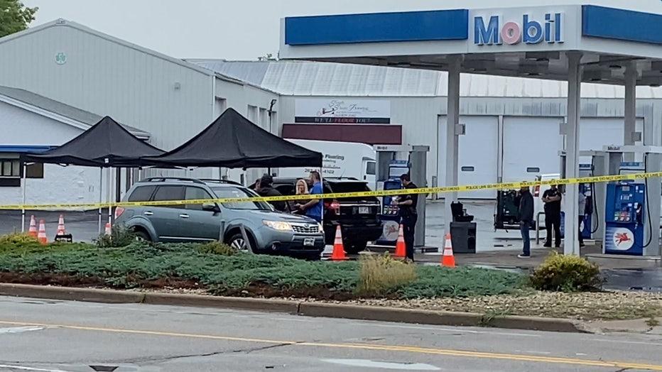 Active scene at Franksville Mobil gas station