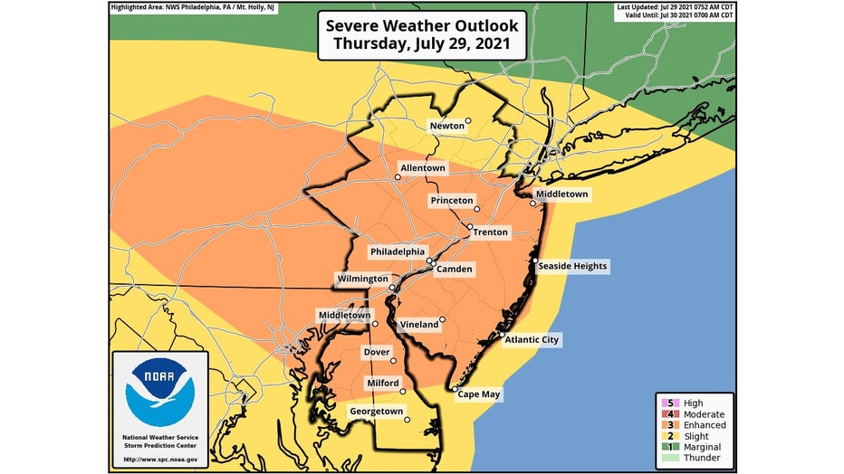 Thursday's severe thunderstorm outlook issued by NOAA's Storm Prediction Center.