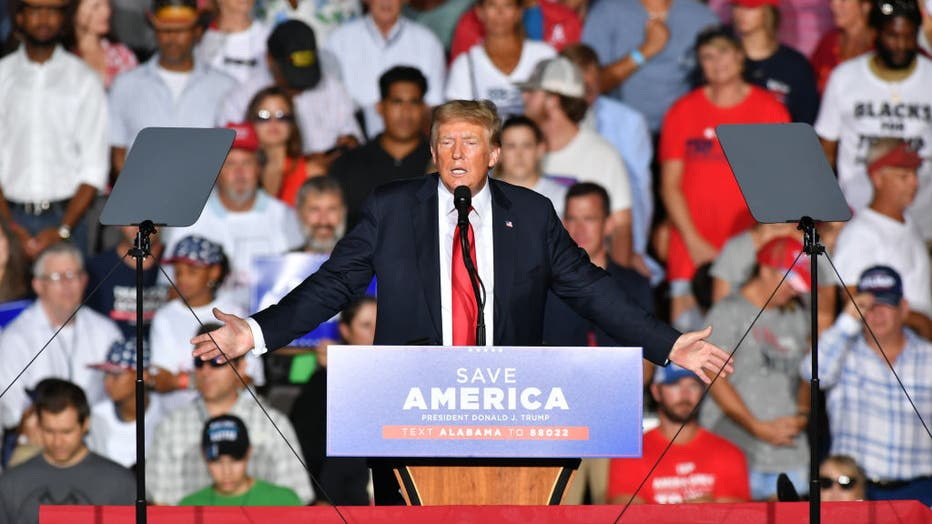 Trump delivers remarks at a major rally in Alabama
