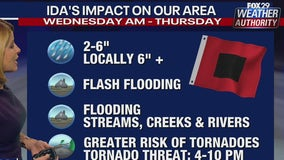 Ida remnants to bring several inches of rain, flooding threats to area Wednesday, Thursday