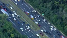 1 killed, dozen hurt when van overturns on I-295 near Hamilton Township
