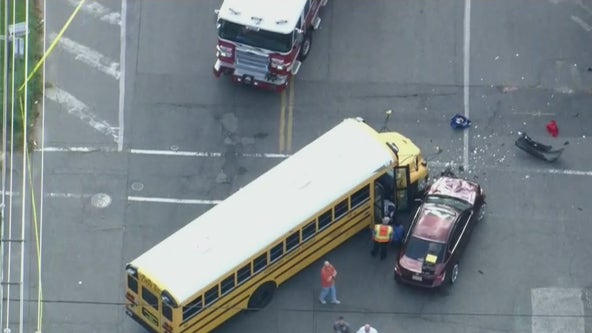 Mother seriously injured after driver slams into school bus in Pennsauken, NJ