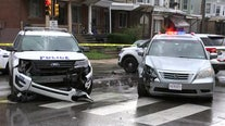 Police car responding to shooting collides with van in Southwest Philadelphia