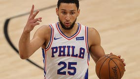 Simmons practices with 76ers; status for opener unknown