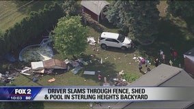 Driver slams through fence, shed and pool in Sterling Heights backyard