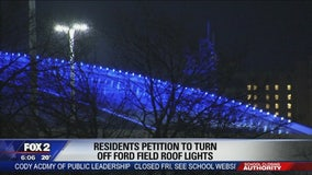 Some Detroiters fed up with blue glow atop Ford Field