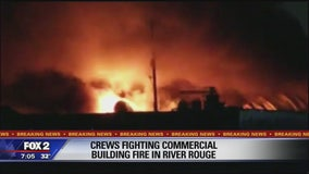 Fire burning at concrete business in River Rouge
