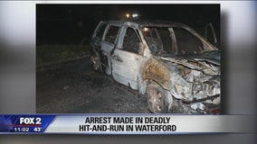Burned car linked to fatal hit-and-run, man arrested