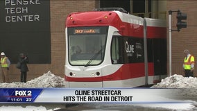 First QLINE streetcar hits Woodward for testing