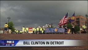 Bill Clinton joins union members for Labor Day parade in Detroit