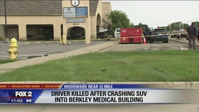 Driver dies after crashing into building along Woodward in Berkley