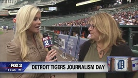 Amy Andrews, Jen Hammond speak to students at Detroit Tigers Journalism Day