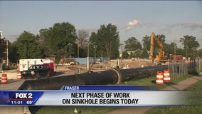 Dig begins to replace collapsed sewer line in Fraser sinkhole