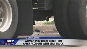 Woman hit by semi truck in Lincoln Park