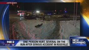 Police seek driver after car ripped in half in Roseville accident